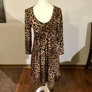 Michael Kors Empire Waist Leopard Print Dress